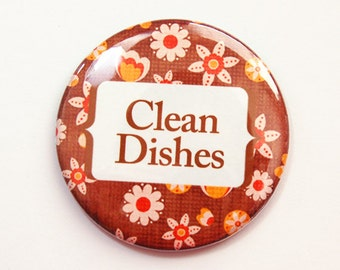 Clean Dishes, Clean dishes magnet, Dishwasher magnet, Brown, Orange, Flowers, Floral, kitchen magnet, Magnet, Flower Magnet, Kitchen (3688)