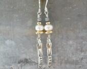 Pearl Earrings, Artisan, Handmade, Sterling Silver, 14k Gold Fill, Mixed Metal