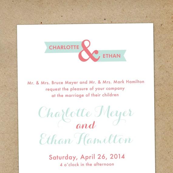 Modern Banner Printable Wedding Invitation Set - DIY Wedding Invites - Script, Coral, Green, Mint