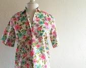 bright floral vintage button up