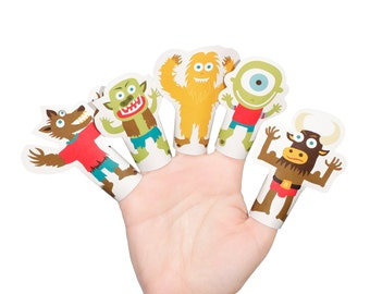 Classic Monsters Paper Finger Puppets - PRINTABLE PDF Toy - DIY Craft Kit Paper Toy - Birthday Party Favor