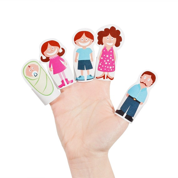 paper finger puppets templates - finger family paper finger puppets printable pdf toy diy