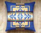 SALE Wool Pillow - Blue Native Geometric Tribal Southwest Western