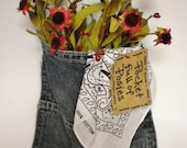 Denim Jean Pocket Flower Arrangement, Primitive Bouquet, Wall Floral Accent Piece