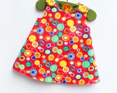 Red - Rainbow Polka Dots Girls Dress - Randow Dress - Beach Girls Outfit - Summer Dress - Girls Dress - Toddler Birthday Gift - 3M to 4T