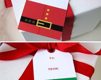 Christmas Gift Tag - Christmas Printable - Santa gift tag - Elf gift tag - Christmas party favor tag - From Santa - Holiday gift tag