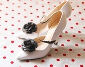 Black Organza Flower Shoe Clips - Wedding Shoes Bridal Couture Engagement Party Bride Bridesmaid