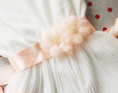 Bridal Flowers Sash Belt - Peach Flowers Wedding Dress Sashes Belts - Rustic Chic Floral Sash