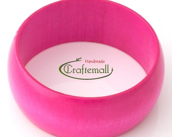 Clearance: Wooden bangle - pink bangle made of wood - size S
