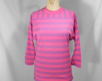 vintage 1980s striped shirt / size small