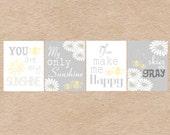 Nursery Art DIY Printable- Bumble Bee & Daisy You Are My Sunshine Wall Art- Grey and Yellow