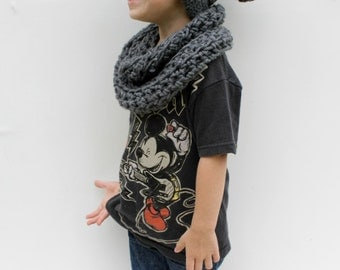 Children's Slouch Hat and Scarf, Grey Crochet Hat and Scarf, Made to Order