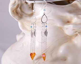 Sterling silver chandelier dangling earrings with small AB Swarovski crystals, fire orange wild heart, long statement sterling silver chain