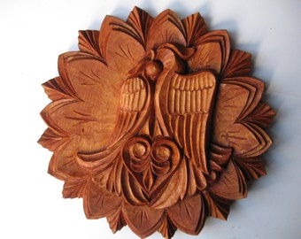 To be ordered: Wood carving Wall hanging - Two Love Birds, room decor, wedding gift