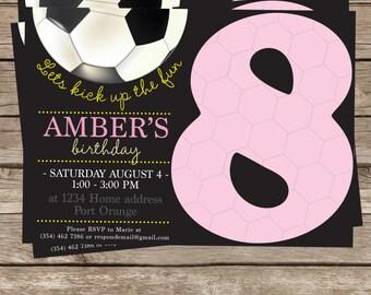 Pink & black soccer birthday invitation cards for girls