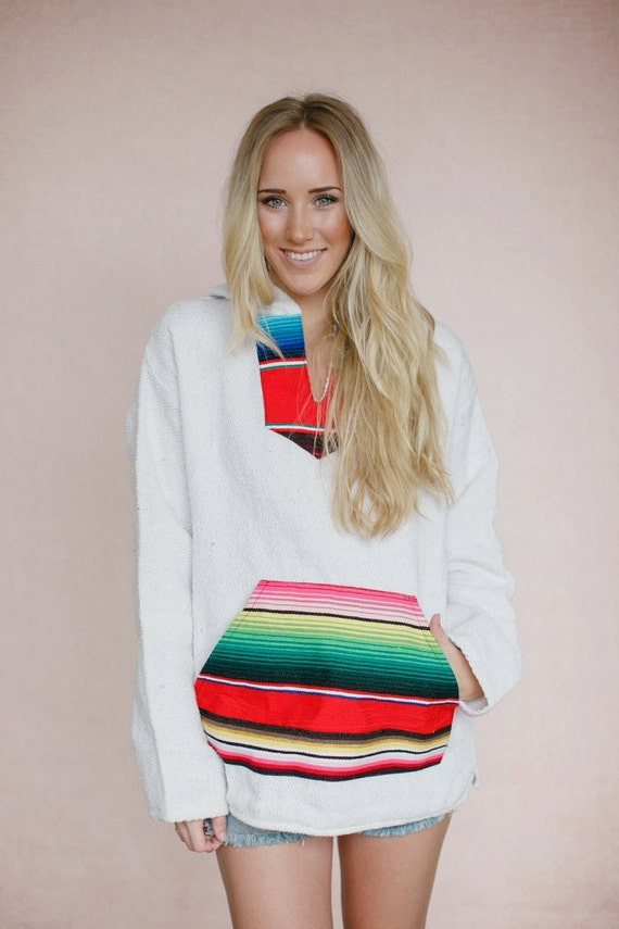 Serape Hoodie Mexican Blanket Sweater Boho by ThreeBirdNest