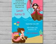 Pirate and Mermaid Girl Birthday Invitation - Pirate and Mermaid Party - Girl Pirate Birthday - Mermaid Birthday - DIY Custom Printable