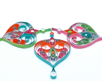 Set of 3 Christmas decoration - eco-friendly, quilled paper, organic cotton.