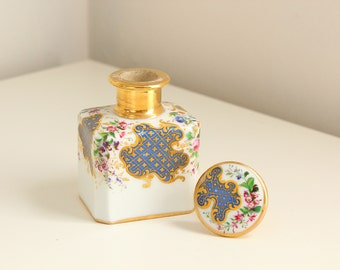 Hand-Painted Victorian Porcelain Perfume Dresser Bottle with Gold Accents