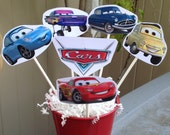 1 CARS Centerpiece - Disney (inspired) CARS Party Decorations - Lightning McQueen - Mater - Sally