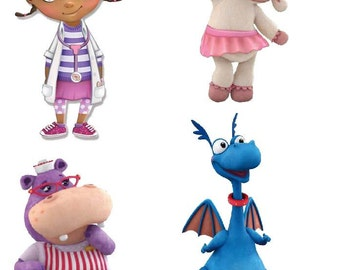 DIGITAL Doc McStuffins Centerpieces - Disney Doc McStuffins - Lambie Stuffy Chilly Hallie - Print at Home DIY