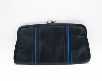 Vintage black leather clutch with blue stripes / golden tone buckle