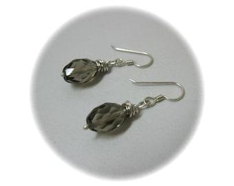 Smokey Quartz Earrings, Smokey Quartz Dangle Earrings, Smoky Quartz Silver Earrings, Quartz Earrings, Brown Earrings, Elegant Earrings