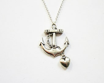 anchor necklace, silver anchor pendant, silver anchor necklace, anchor necklace jewelry, anchor pendant, heart charm, heart and anchor, love