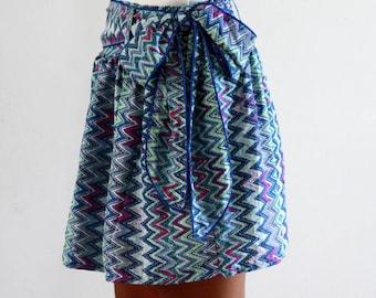 chevron skirt,mini skirt with sash, zigzag pattern skirt, womens skirt