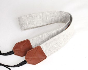 Camera Strap - Oatmeal Textured Linen with Russet Brown Leather