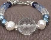 Bracelet-Blue Jewelry-Pearl Bracelet-Beaded Beacelet-Pastel Colors Jewelry-Charm-Angel Charm-Gold Bracelet-Blue and White-Valentine's Day