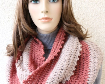 Crochet Scarf PATTERN-Infinity Scarf-Women's Scarf Two Colors-Circle Scarf-DIY Supply-Instant Download PDF Pattern No.141 by Lyubava Crochet