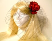 Rose Hair Clip, Real Touch with Birdcage, Netting, Veil, in White or Black, Wedding, Retro 50s Bride, Valentines Day Goth Kawaii, Rockabilly