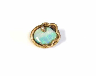 Opal Snake Pin with Diamond Head in 14 Karat Yellow Gold from the Early 1900's-Signed Kohn