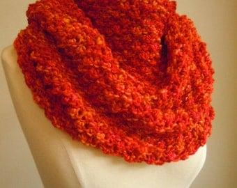Merino wool high cowl - Passionate orange