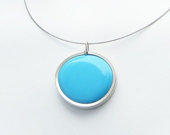 Sky Blue Pendant Necklace,  Melted glass marble necklace, glass jewelry 046