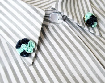 Collar Clips Navy Blue Mint Tiny Roses Sweater pin Collar clip Collar brooches