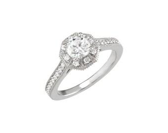 Vintage Inspired Diamond Halo Engagement Ring, Engagement Ring, Halo Ring, Wedding Ring, Diamond Ring, Diamond Engagement Ring