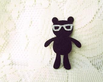 Teddy Bear in Silver Eyeglasses Iron on Applique Happy Brown  Bear family Teddy Bear, kid, baby shower, bag decoration, shirt,