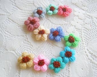 Crochet Daisy Flower Fabric Applique Applique mix assorted Crochet flower pink blue brown green cream, bag supply, wedding supply  50pcs.