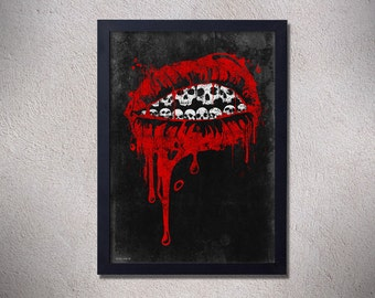 Original digital print skull lips red black white creepy horror blood goth art poster punk