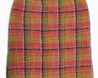 Vintage French Boucle Plaid Skirt