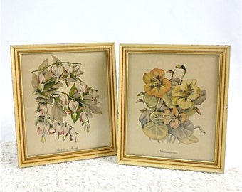Vintage Floral Lithographs Bleeding Hearts and Nasturtium Flowers Set of Two