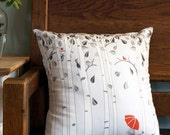 Linen Birch Tree Printed Pillow Cover in Greys and Red (Small)