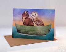 Owl and the Pussy Cat Greeting Card, Blank Card, Birthday Card, Thank You Card, Easter Card, Anniversary Card, Mothers Day Card, Good Luck