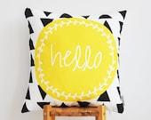 """Geometric Decorative Pillow, Throw Pillow, Modern Kids Pillow, Yellow Nursery Pillow, Modern Cushion Cover 16"""" x 16"""""""