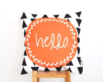 """ON SALE Geometric Decorative Pillow, Modern Nursery Pillows, Orange Kids Pillow, Teen Pillow, Throw Pillow 16"""" x 16"""""""
