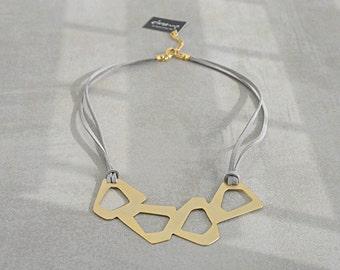 Gold statement necklace, Geometric necklace, Art necklace, Modern necklace, Contemporary jewelry, Bib necklace, Urban necklace