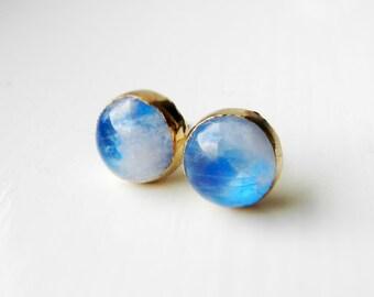 Moonstone stud earrings - Gold dipped - Rainbow - Blue