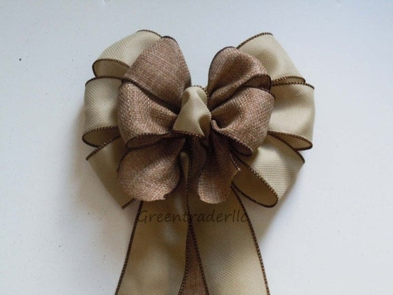 Rustic Burlap Wedding Chair Bows Beige Tan Wedding ceremony bow Burlap Liked Wreath Bow Vineyard Wedding Decoration Burlap Door Hanger Bow